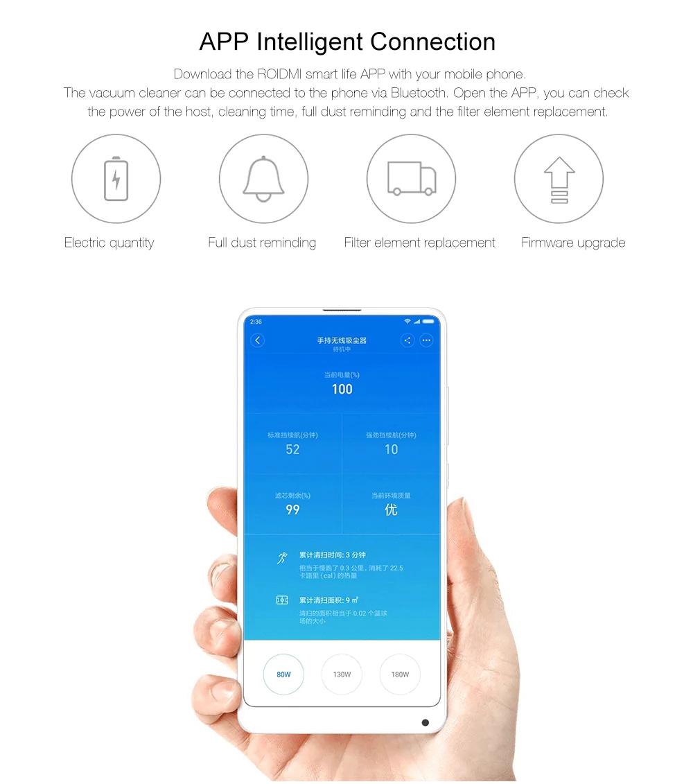 جاروبرقی شارژی بی سیم دستی شیائومی مدل ROIDMI F8 Xiaomi Roidmi F8 Smart Vacuum Cleaner White 20181208164206673